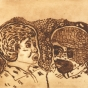 H. Koowootha, The mentors, 2016, drypoint
