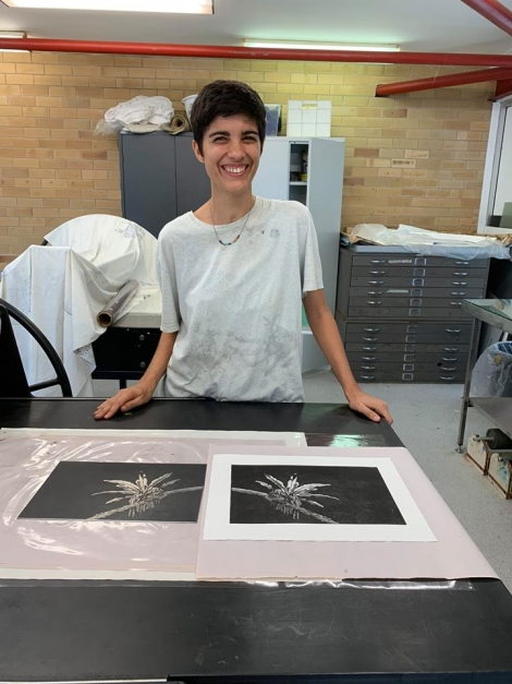 Kara first intaglio print at Inkmasters Cairns