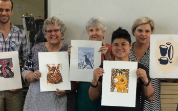 InkMasters reduction linocut workshop with Lauren Jaye Carter